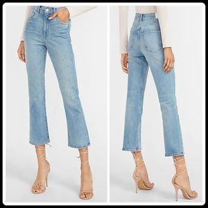 Express High Waisted Embellished Dot Cropped Flare Jeans Light Wash 0 Pants